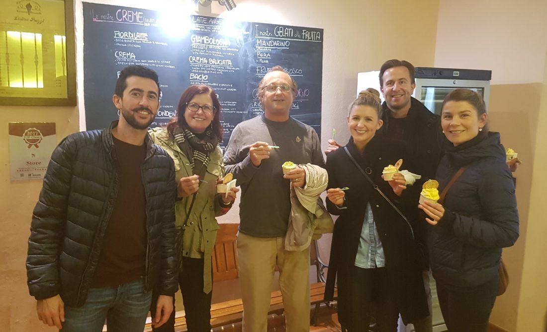 Eating gelato in Bologna