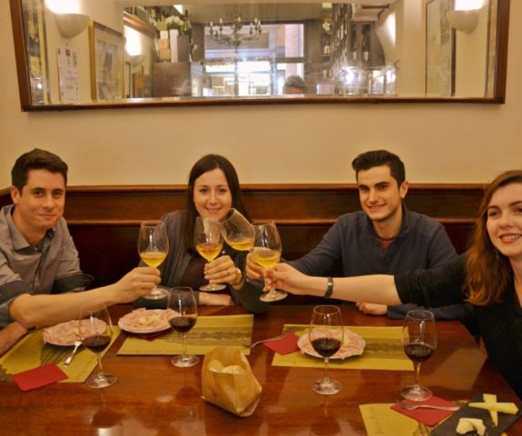 Wine cheers at enoteca in Bologna