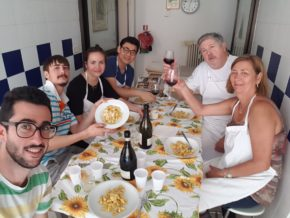 Enjoying pasta after our cooking class in Bologna