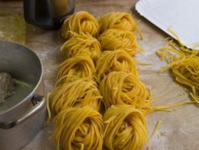 Handmade Tagliatelle in a pasta factory
